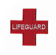 Red Lifeguard Patch Iron / Sew on Badge Life Guard Pool Beach Bag Costume Jacket