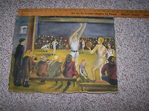 Antique Basketball Folk Art Painting  1930's Small Town America