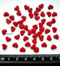MICRO MINI RED HEARTS Craft Buttons 1ST CLASS POST Wedding Love Small Valentine