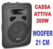 "CASSA ACUSTICA AMPLIFICATA 200W 8"" FULL-RANGE IN PLASTICA 2 VIE DJ KARAOKE"
