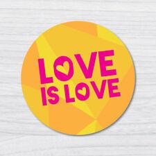 LOVE IS LOVE YELLOW STICKER DECAL Pop Culture Laptop Phone Car Skateboard Vin...