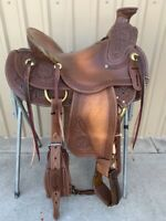 "Western Brown Oil Treated Hand Carved Roper Wade Saddle 15"",16"",17"""