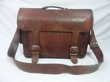 "18"" Real Brown Leather Office Briefcase Messenger Laptop Satchel Shoulder Bag"