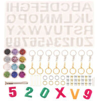 186pcs Resin Crystal Epoxy Letter Number Silicone Molds Keychains Making Set