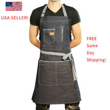 Chef Bib Apron Kitchen Cooking Denim Aprons Coffee Bar Uniform Workwear Us Stock