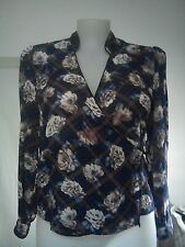 Limited Editions Ladies Top in Blue Beige Navy and Brown Floral Pattern Size 14