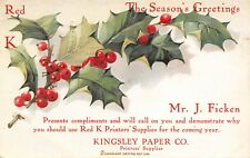 Cleveland Ohio~Kingsley Paper Co~Red K Printer Salesman J Ficken~Christmas 1905