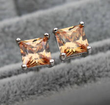 EPIC VAULT-Champagne Square Topaz Stud Earrings-18K White Gold Filled-6MM