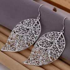 Dangle Hook Earrings Leaved Hollow Leaves *Uk* 925 Silver Plt Filigree Leaf Drop