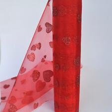 Par mètre rouge organza neige matière transparente paillettes coeurs design 29 cm large