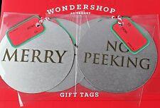 New Wondershop Target Metal Name Gift Tags Christmas 48/Pack No Peeking & Merry