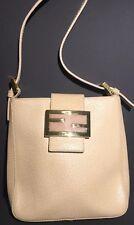Authentic FENDI Logos Shoulder Mini Bag Leather Beige Gold-Tone Italy