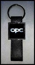 Porte-clés Acier/Simili Cuir logo OPEL OPC (Fond Noir)
