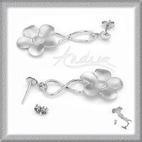 Made in Italy Silver Drop/ Dangle Flower 925 Sterling Earrings 4.4g 47 mm Long