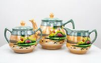 3pc 1930s Lusterware Teapot, Sugar Bowl, Creamer Set – Occupied Japan Blue Peach