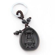 Ebony Tibet Buddhist Buddha Money Amulet Pendant Keyring Keychain Key Chain