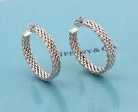 "Tiffany & Co. Somerset Mesh Large 1.25"" 925 Silver Hoop Earrings + Box & Pouch"