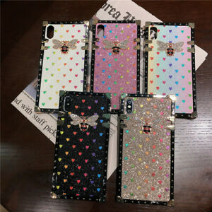 For iPhone 12 11 Pro Max XR 8 Plus Bling Glitter Square Luxury Phone Case Cover