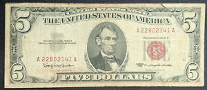 USA 5 Dollars 1963 Red Seal #A22802141A (E5)
