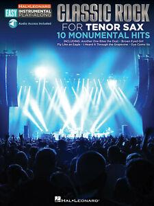 Classic Rock 10 Monumental Hits Tenor Sax Easy Sheet Music Play-Along Book Audio