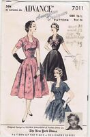 1950s Advance Pattern 7011 Dress Gloria Swanson Am Designer 16.5 Cut Full Skirt