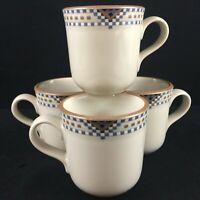Set of 4 Vintage Coffee Mugs by Noritake Stoneware Sedona Squares Diamonds 8481