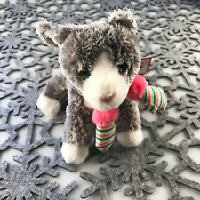 """Douglas Cuddle Toy Peppermint Gray Cat Mittens 6"""" RARE 617 Holiday Kitty Pet NWT"""