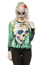 Skull Sweatshirt Shirt Dia de Los Muertos Women's Green Multicolour S-XXL