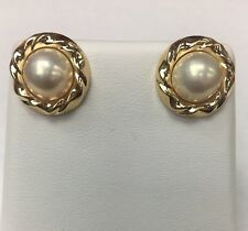 Peter Brams Design 14K YELLOW GOLD MABE PEARL EARRINGS  signed PBD 5g