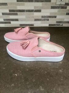 New Spenco Celine Raffia Pink Fabric Slip-On Comfort Sides Mules Cute Size 11