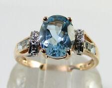 BIG 9K 9CT ROSE GOLD BLUE TOPAZ 9mm x 7mmm DIAMOND ART DECO INS RING FREE RESIZE