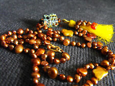 Necklace COFFEE PEARL knotted SILK MURANO FROG VERMEIL GOLD 22.5 AMBER