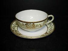 BEAUTIFUL HAND PAINTED NIPPON CUP & SAUCER - RAISED GILDED DESIGN