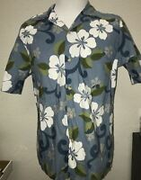 RJC Ltd Hawaiian Shirt Men's L Vtg Blue Green White Floral Flowers Made in USA
