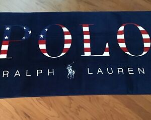 "NWT-RALPH LAUREN Red White & Navy ""Stars and Stripes"" POLO Beach Towel 35""x66"""
