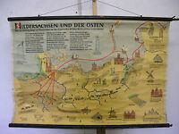 Schulwandkarte Wandkarte Schulkarte map Niedersachsen Osten Siedler 119x79 ~1960