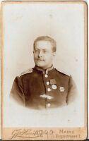 CDV photo Soldat mit Orden und Widmung - Mainz 1900