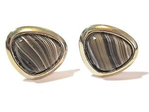 CUFFLINKS STRIPED FAUX AGATE GEMSTONE BROWN WHITE GOLD TONE MID CENTURY VINTAGE