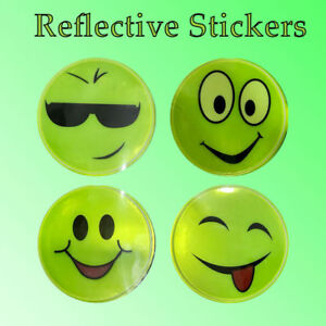 4 Emoji Night Reflective Neon Green Safety Sticker For Car Bicycle Bag Helmet UK