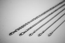 """10K SOLID WHITE GOLD ROPE CHAIN NECKLACE 1.5MM ~ 5MM 16"""" ~ 30"""""""
