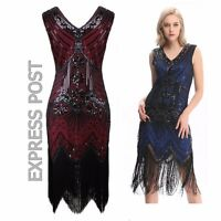 US3 Hot Flapper Dress Great Gatsby Vintage Sequin Costume 20s Charleston Fringe
