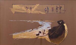 "Original Mixed Media Painting By Clark Richard Barrett ""Sacred Cows"" Untitled"
