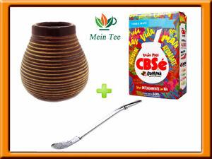 Mein Teeshop Mate Becher Keramik braun + Bombilla  + CBSe Energia Guarana