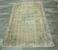 Beige Color Turkish Vintage Area Rug Anatolian Hand Knotted Wool Carpet 5x8 ft.