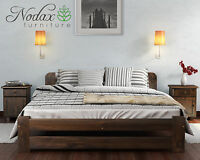 *NODAX*SOLID WOODEN BEDROOM*PINE SUPER KING SIZE BED 6ft FRAME IN WALNUT COLOUR*