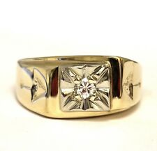 14k yellow gold .20ct SIH diamond solitaire arrows mens ring 10.4g gents esrtate