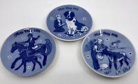 "Vintage Set 3 Mothers Day Mors Dag 5"" Plates Blue White Norway 1970 1975 1976 EC"