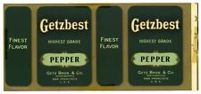 GETZBEST, Vintage Getz Brothers, Pepper *AN ORIGINAL 1920's TIN CAN LABEL* 061