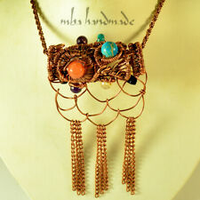 Mixed Crystals Antique Pendant Copper Wire Wrapped Gemstone Artisan Jewelry