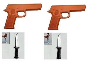 2 Rubber Gun and 2 Rubber Boot Knives Set for Martial Arts Training Defense